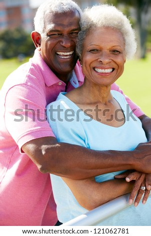 Outdoor Portrait Of Happy Senior Couple - stock photo