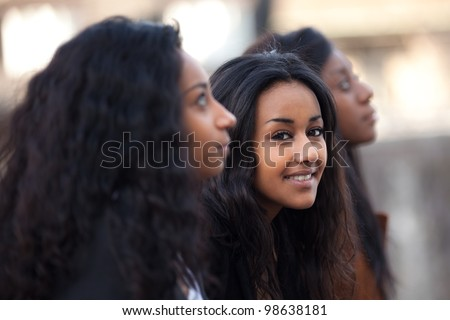 Outdoor Portrait  of happy youngs african american teenage girl - stock photo