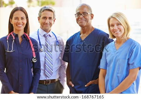 Outdoor Portrait Of Medical Team - stock photo