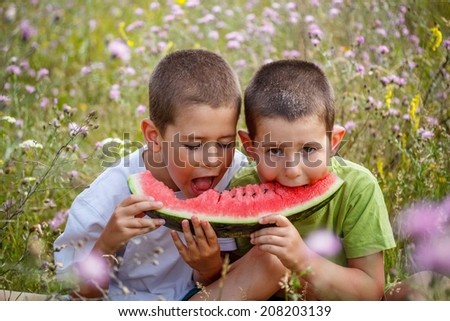 Outdoor portrait of two boys eating watermelon - stock photo