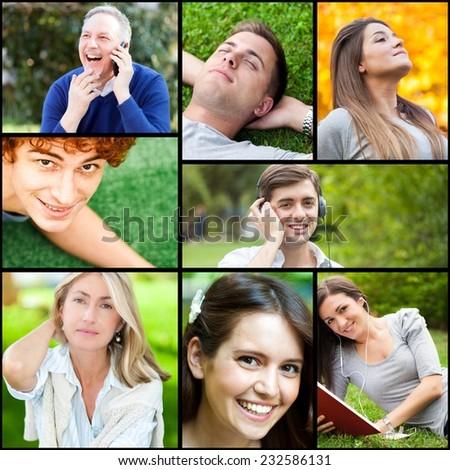 Outdoor portraits of happy people - stock photo