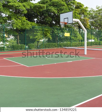 Outdoor public basketball court - stock photo