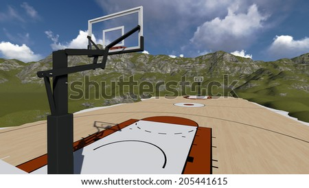 Outdoor public basketball court made in 3d software - stock photo