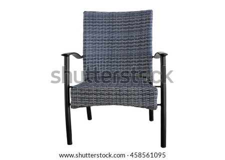 Outdoor Rattan Grey Lounge Dining Chair Or Armchair Made from Eco-Friendly Poly Wicker Material With Black Metal Armrest. Weather Resistant. Isolated On White Background - stock photo