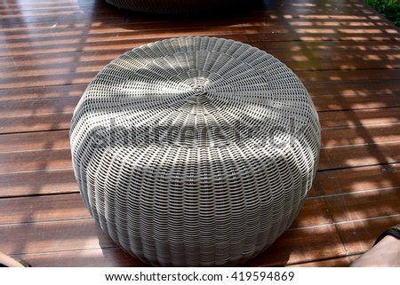 outdoor rattan table - stock photo