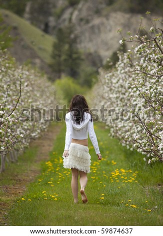 Outdoor rear view photo of young woman walking through orchard in bloom. - stock photo