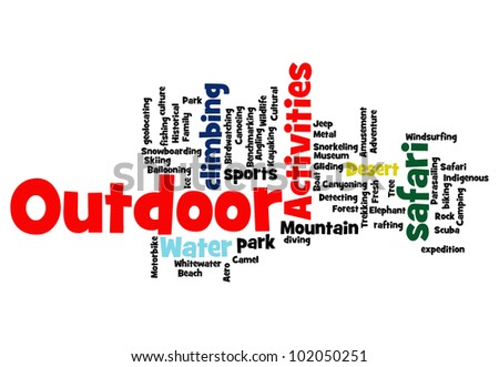 Outdoor related activities info-text graphics and arrangement concept on white background - stock photo