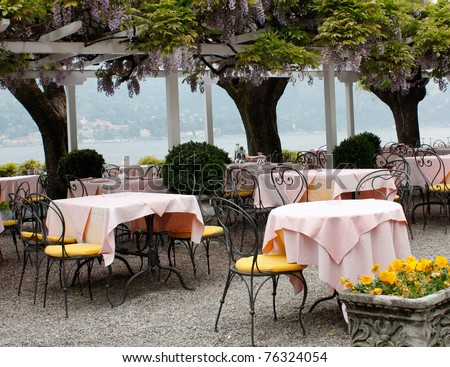 Outdoor restaurant - stock photo