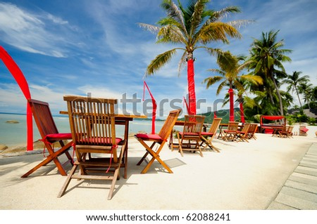 Outdoor restaurant at the beach , Samui, Thailand - stock photo