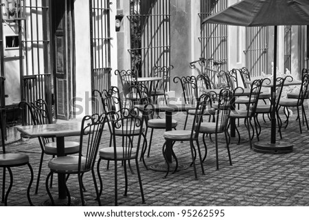 Outdoor restaurant in black and white - stock photo