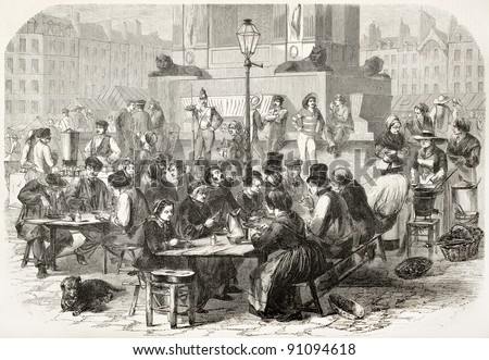 Outdoor restaurant in Paris old illustration. Created by Godefroy-Durand, published on L'Illustration, Journal Universel, Paris, 1858 - stock photo
