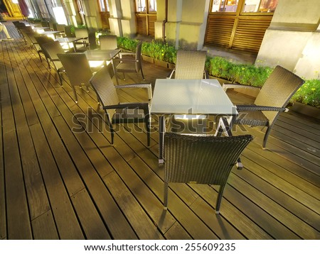 Outdoor restaurant in the night - stock photo