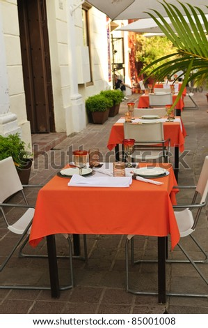 Outdoor restaurant patio on the street of Guadalajara, Mexico