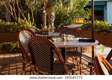 Outdoor Restaurant with Waterfront Seating - stock photo