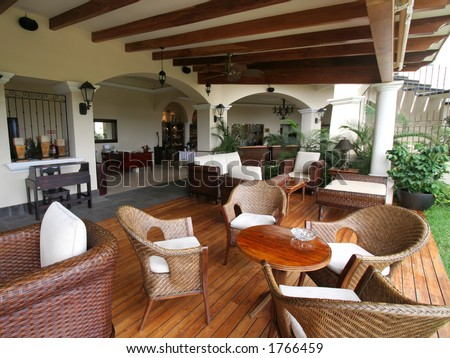 Outdoor Seating Area in Tropical Hotel - stock photo