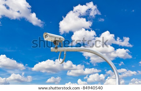 outdoor security cctv camera against blue sky