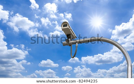 Outdoor Security cctv cameras under Sun shine and White cloud in blue sky