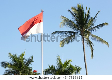 Outdoor shoot of Indonesian flag  - stock photo