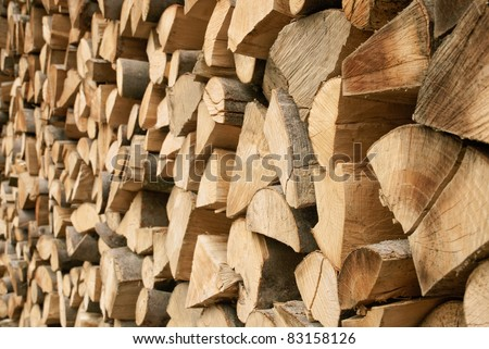 Outdoor shot of a large pile of firewood in soft daylight - stock photo