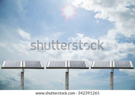 Outdoor small solar panel  isolated on sky background - stock photo