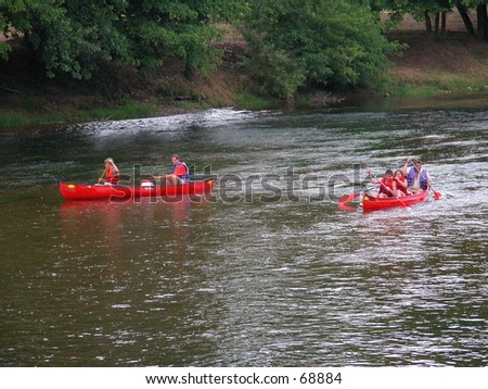 Outdoor sports on the river Dordogne, France - stock photo
