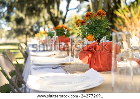 Outdoor spring or summer casual garden party set up for lunch dinner with long table folding chairs marigold flowers plastic disposable plates and white tablecloth - stock photo