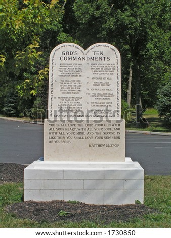 Outdoor statue of the Ten Commandments at Catholic Church - stock photo