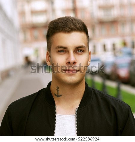 Outdoor Street Portrait Young Handsome Man Stock Photo Edit Now