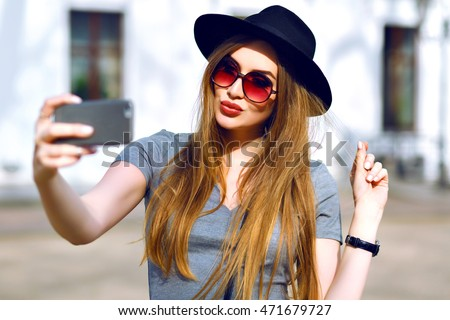 Outdoor Street Style Image Young Trendy Stock Photo