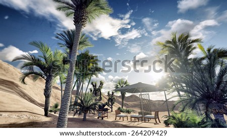 outdoor stuff under the desert sun - stock photo