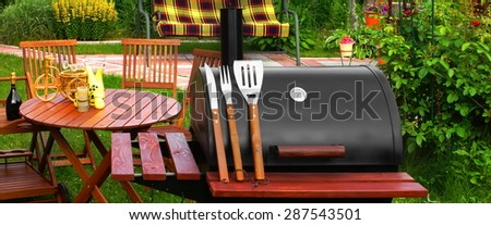 Outdoor Summer Weekend BBQ Grill Party Or Family Lunch Or Cookout Food Or Picnic Concept - stock photo