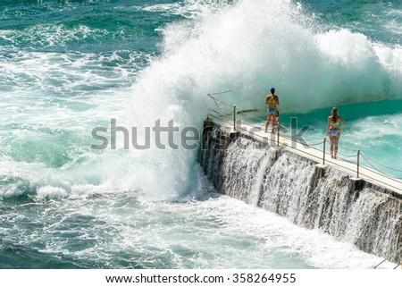 Outdoor swimming pool at Bondi beach, Australia. - stock photo