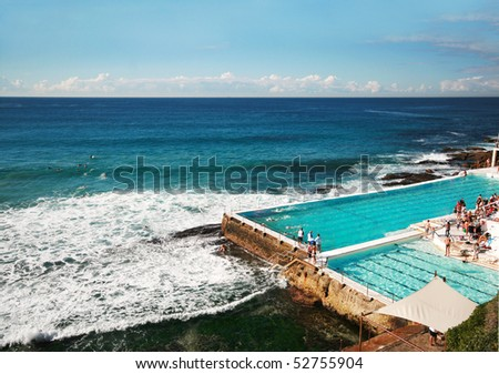 Outdoor swimming pool at Bondi beach, Australia - stock photo