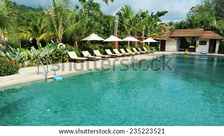 Outdoor Swimming Pool Background - stock photo