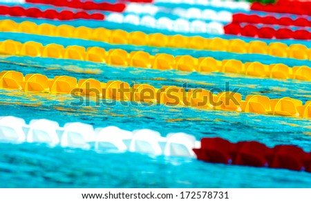Outdoor swimming pool lanes - stock photo