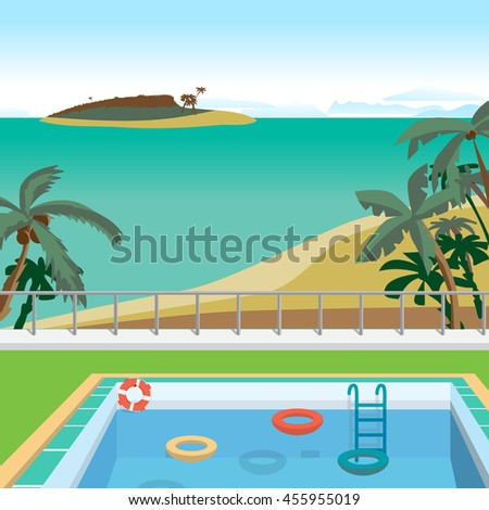 Outdoor swimming pool on the beach in the tropics