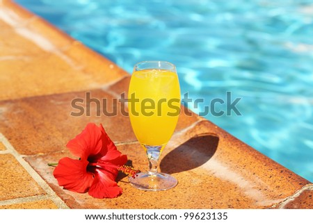 Outdoor swimming pool with fresh water - stock photo