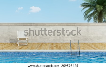 Outdoor swimming pool with white deckchair  wooden floor - 3D Rendering - stock photo