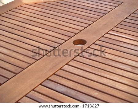 Outdoor table plank, details - stock photo
