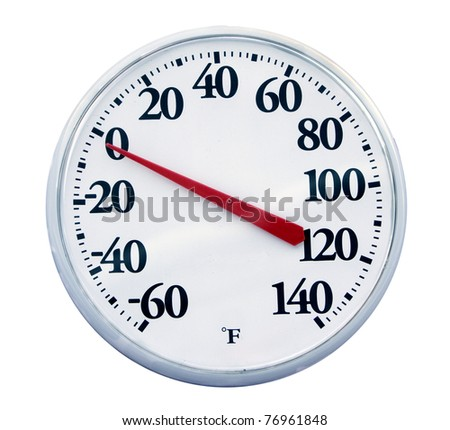 Outdoor thermometer showing zero degrees Fahrenheit on a freezing cold winter morning. Horizontal shot. Isolated on white. - stock photo