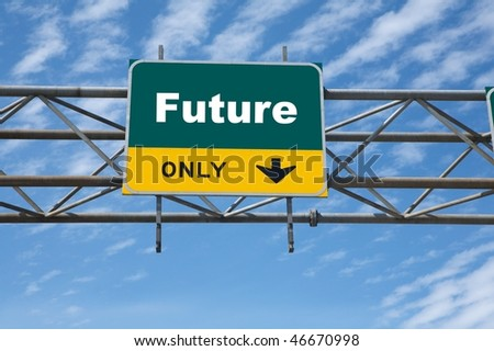 Outdoor traffic sign the word future on it