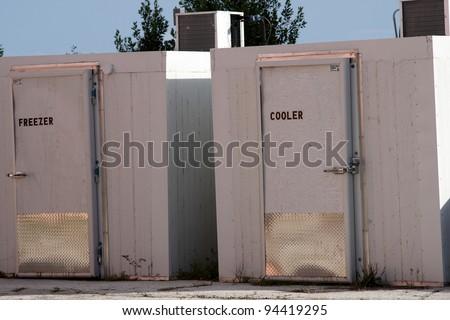 outdoor unused refridgeration and freezing units - stock photo