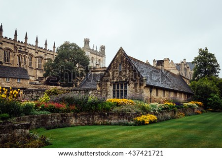 Outdoor view of Christ Church College in Oxford a rainy day of summer - stock photo