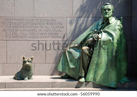 Outdoor view of Franklin Delano Roosevelt Memorial in Washington DC - stock photo