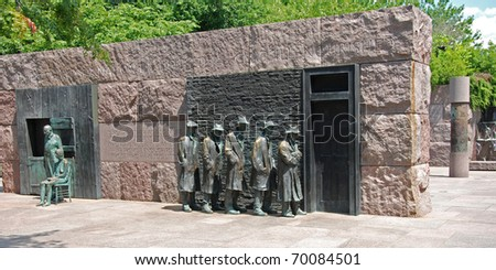 Outdoor view of Hunger sculpture of Franklin Delano Roosevelt Memorial in Washington DC panorama - stock photo