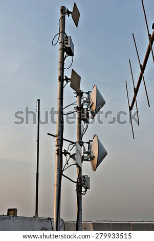 Outdoor Wireless Access Point air data connect long distance. - stock photo