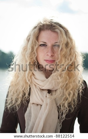 Outdoor woman portrait - stock photo