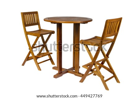 Outdoor wooden dining table with two stools
