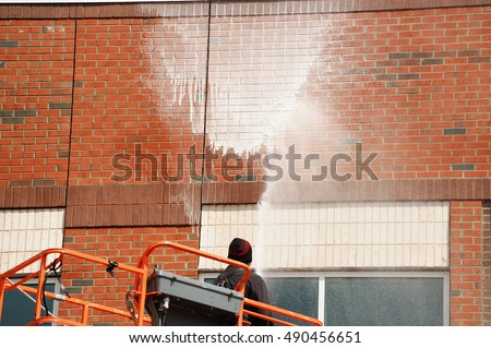 Outdoor Worker Cleaning Exterior Wall Building Stock Photo Royalty Free 490456651 Shutterstock