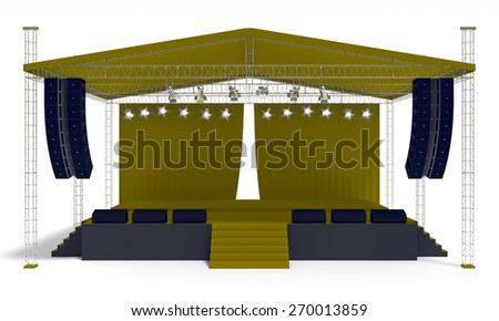 Outdoor yellow concert stage isolated white background - stock photo